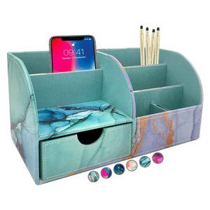 Large PU Leather Desk Organizer Cute Pen Holder Office, Marble-lous Teal